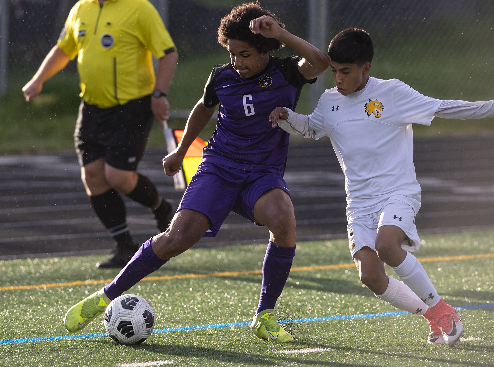 Columbia River's Carver Taylor cuts back against an Aberdeen defender in a 2A Southwest District boys soccer semifinal on Thursday, May 6, 2021, at Columbia River High School. The Rapids topped Aberdeen 2-0 to advance to Saturday's championship game against Tumwater.