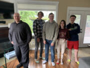 RIDGEFIELD: From left, Ridgefield High School Knowledge Bowl Coach David Jacobson, team captain Jonah Kropp, and team members Micah Ross, Olivia DesRochers, and Adam Ford all took third place at the national competition this year.