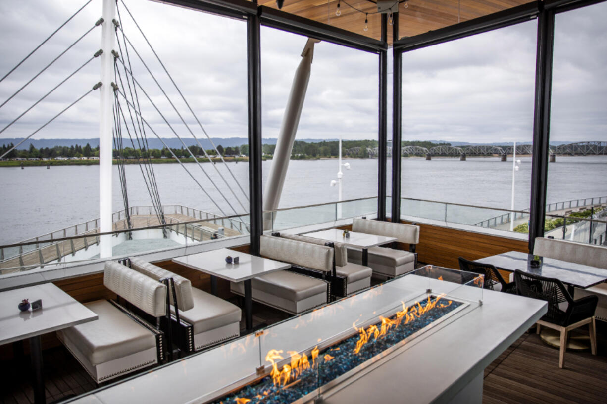 DosAlas Latin Kitchen & Tequila Bar offers views of the Grant Street Pier and the Columbia River. The restaurant at The Waterfront Vancouver is now open.  At top, DosAlas occupies the second floor of The Jean building that's also home to WildFin American Grill.