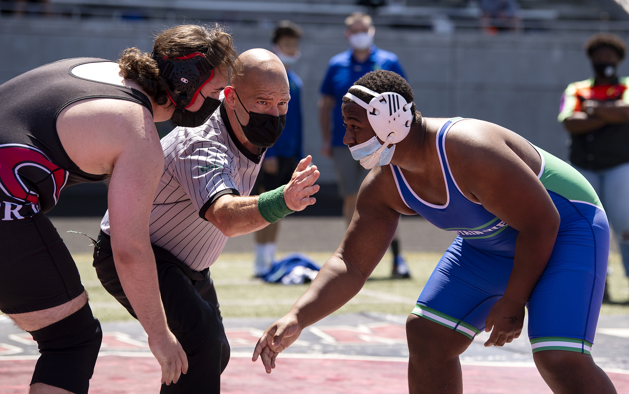 Longtime referee Steve Beamer starts a match at a 4A/3A Greater St. Helens League meet on Saturday, May 15, 2021, at Doc Harris Stadium in Camas.
