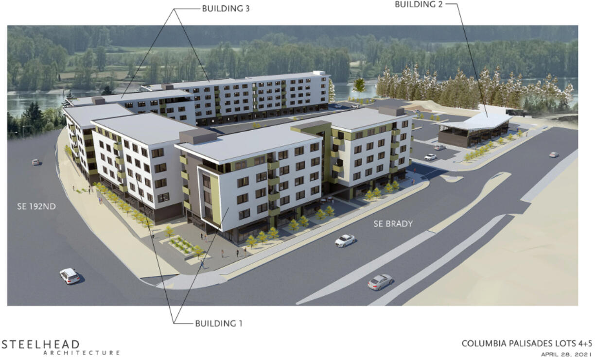 Conceptual renderings included in the pre-application packet from Romano Development and Otak show the size and orientation of the proposed Eleva apartment development at Columbia Palisades. The proposed project would be located at the southwest corner of the intersection of Southeast 192nd Avenue and Southeast Brady Road.