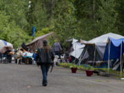 A homeless encampment is pictured in northeast Vancouver as Vancouver's new homeless resources coordinator is presenting her strategy for supported camp sites on Tuesday morning, May 25, 2021.