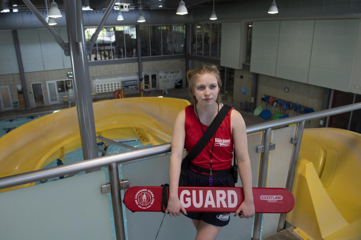 """Kayden Anderson enjoys working as a lifeguard and hopes to eventually become an EMT for a fire department. """"It's rewarding because I can provide that sense of calm when someone is in a panic. I can make sure someone has a good experience even if it's a bad day,"""" she said of high-pressure type of work."""