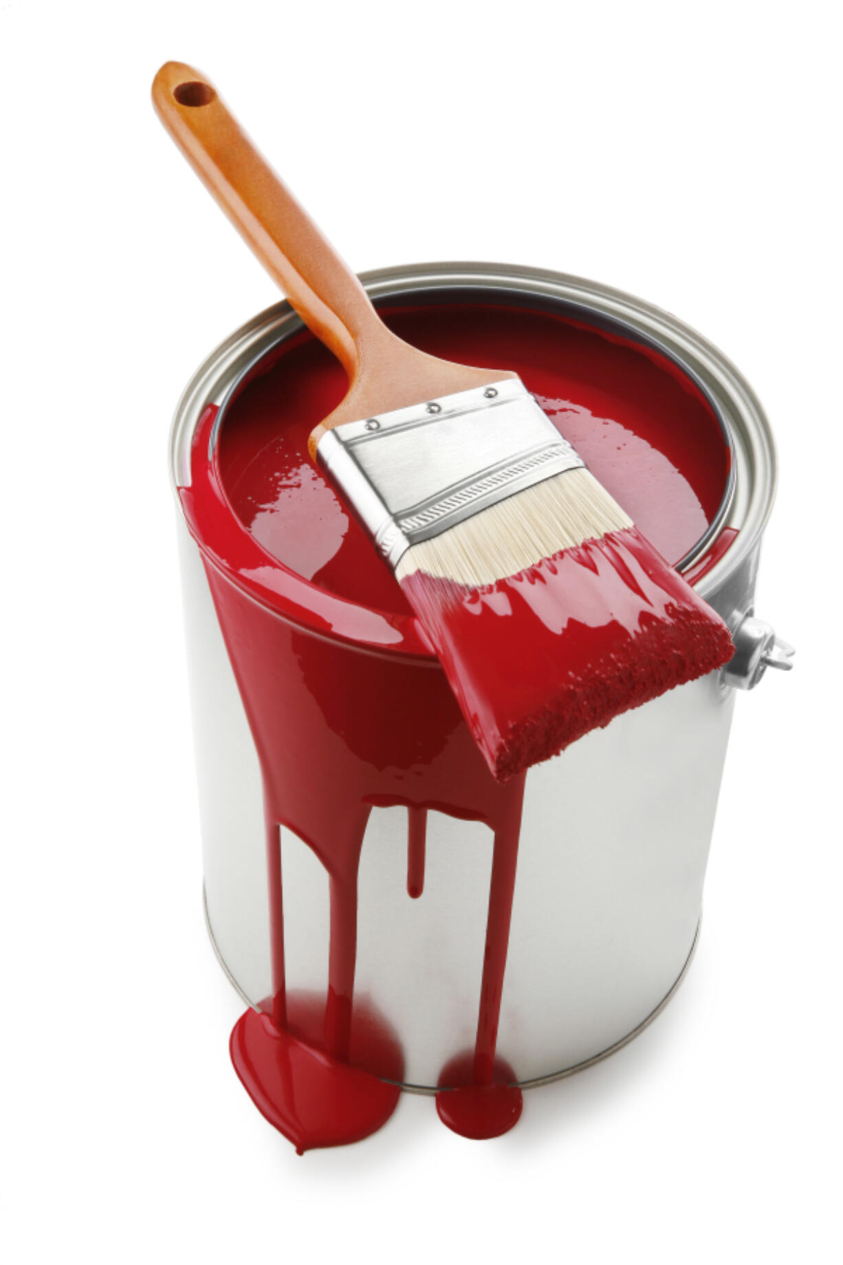 paint bucket with red paint and brush on white background.