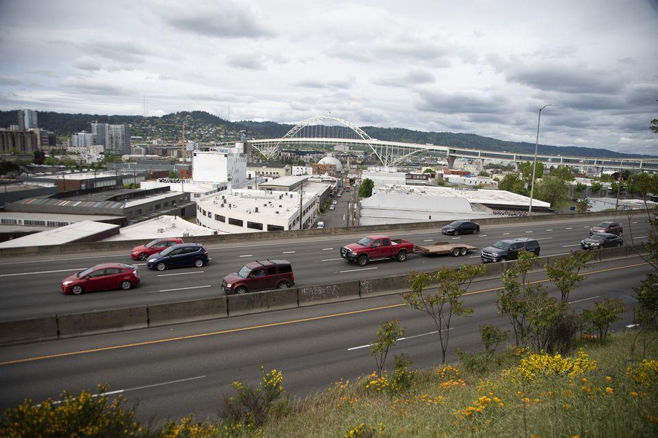 Interstate 5 behind Harriett Tubman Middle School in Northeast Portland.  April 30, 2021.