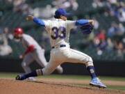 Seattle Mariners starting pitcher Justus Sheffield throws against the Los Angeles Angels during the sixth inning of a baseball game, Sunday, May 2, 2021, in Seattle. (AP Photo/Ted S.