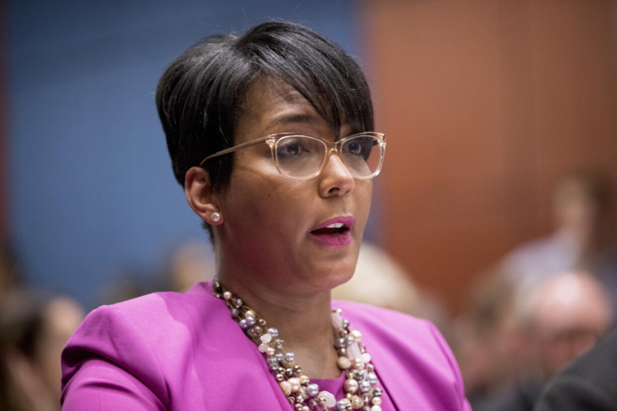 FILE - In this July 17, 2019, file photo, Atlanta Mayor Keisha Lance Bottoms speaks during a Senate Democrats' Special Committee on the Climate Crisis on Capitol Hill in Washington. Atlanta Mayor Keisha Lance Bottoms announced Thursday, May 6, 2021 she will not seek a second term, an election-year surprise that marks a sharp turnabout for the city's second Black woman executive who months ago was among those President Joe Biden considered for his running mate.