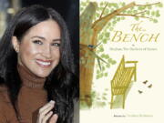 """This combination photo shows Meghan, Duchess of Sussex leaving Canada House in London, on Jan. 7, 2020, left, and cover art for her upcoming children's book """"The Bench,"""" with pictures by Christian Robinson. The book will publish on June 8."""