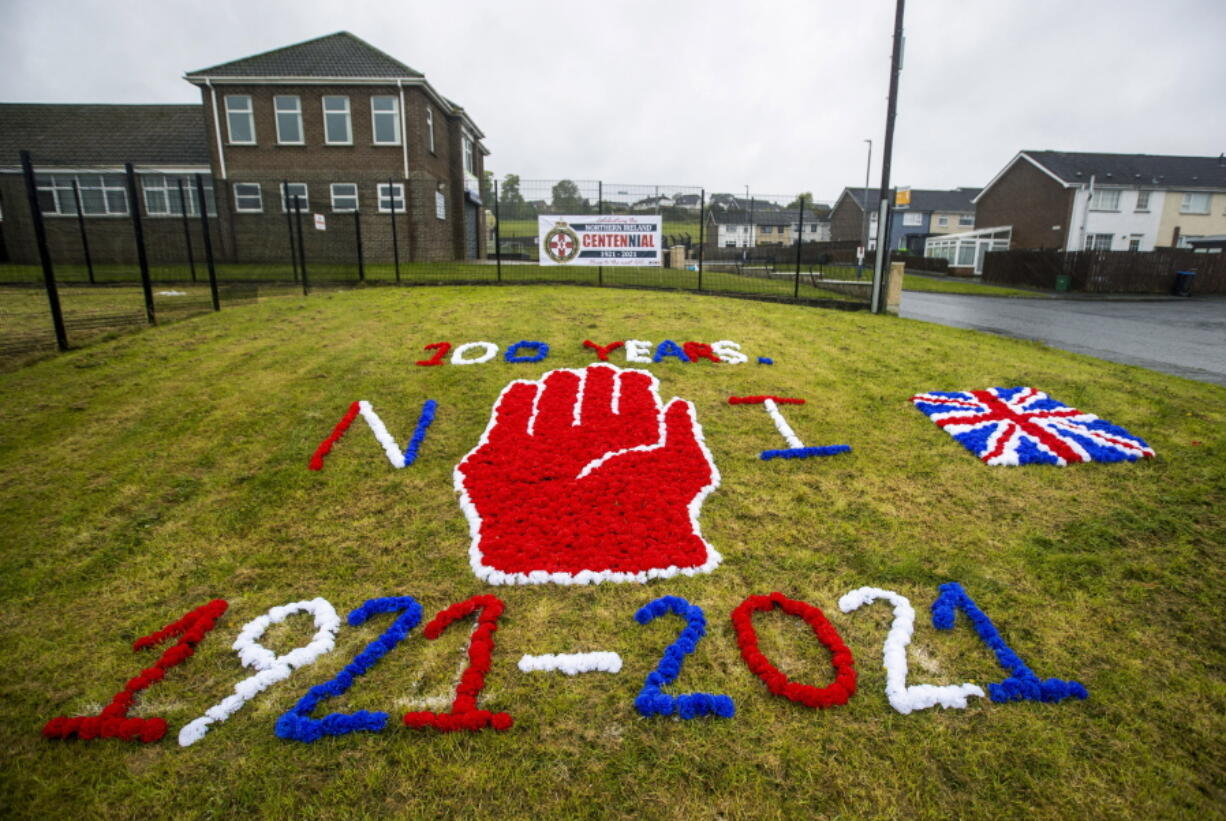A display on grass celebrating the 100 year centenary of Northern Ireland, in Ballyduff, Newtonabbey, Northern Ireland, on Monday.