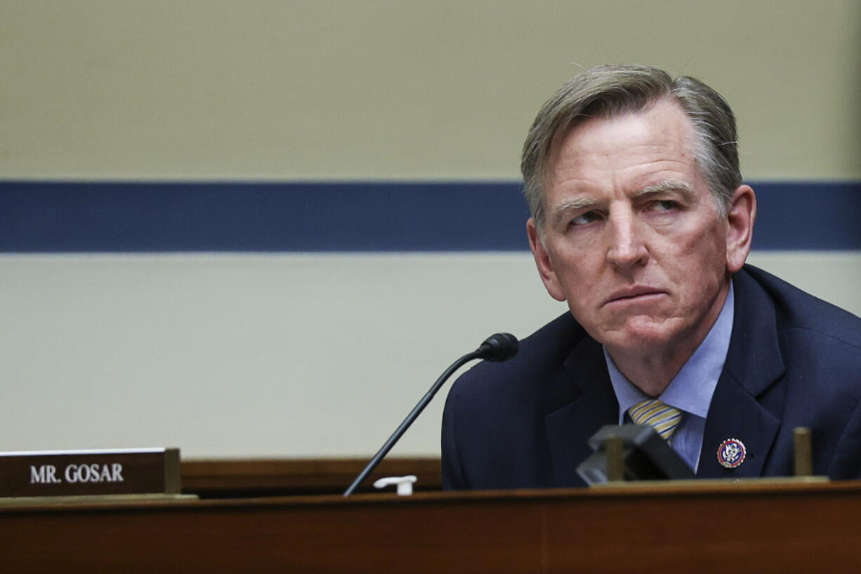 Rep. Paul Gosar, R-Ariz., listens during a House Oversight and Reform Committee regarding the on Jan. 6 attack on the U.S. Capitol, on Capitol Hill in Washington, Wednesday, May 12, 2021.