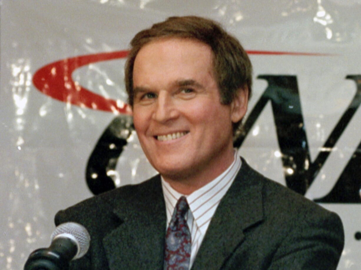"""FILE - Actor/comedian Charles Grodin, appears at a news conference announcing him as host of CNBC's new primetime show """"Charles Grodin"""" in New York on Nov. 15, 1994. Grodin, the offbeat actor and writer who scored as a newlywed cad in """"The Heartbreak Kid"""" and the father in the """"Beethoven"""" comedies, died Tuesday at his home in Wilton, Conn. from bone marrow cancer. He was 86."""