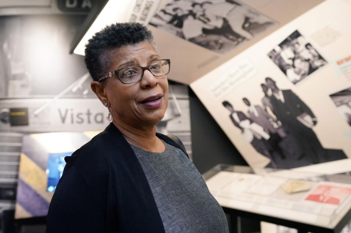 Denise Morse recalls a story about her father, the late C.T. Vivian, on Wednesday, May 26, 2021, at the Mississippi Civil Rights Museum in Jackson, Miss. Vivian was among the activists arrested in Jackson in May 1961 after they challenged segregation as Freedom Riders. Vivian was awarded the Presidential Medal of Freedom in 2013, and he died in July 2020 in Atlanta. Jackson's current mayor declared Wednesday as C.T. Vivian Day in Mississippi's capital city. (AP Photo/Rogelio V.