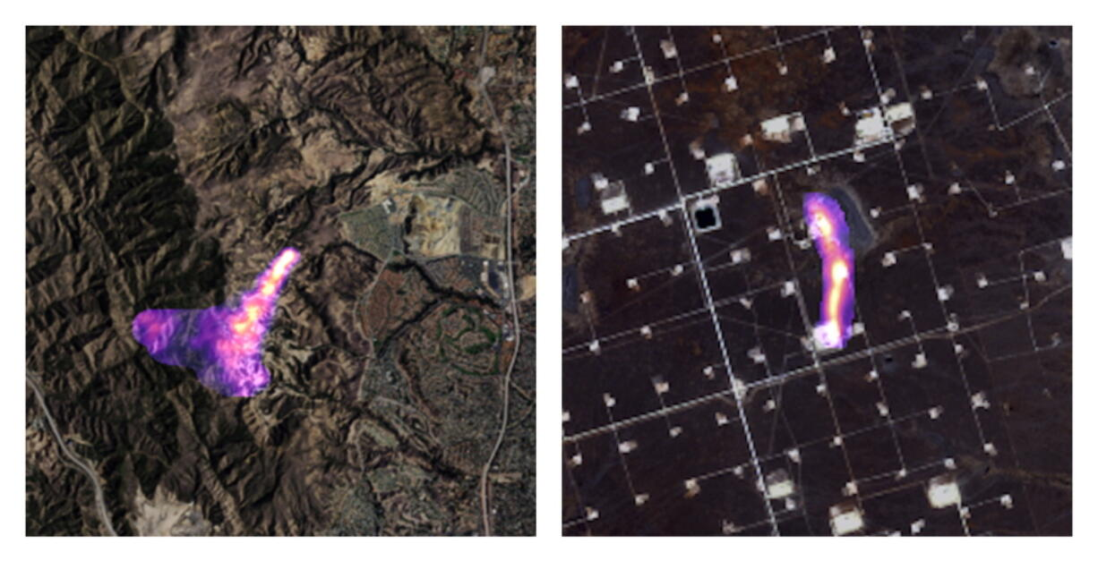 This combination of satellite images provided by the Kayrros data analytics company shows methane plumes, captured using specialized sensors overlaid on optical photos, rising from natural gas sites in Aliso Canyon north of Los Angeles on Oct. 26, 2015, left, and the Permian Basin in Texas on Nov. 8, 2020. According to a United Nations report released on Thursday, May 6, 2021, cutting the super-potent greenhouse gas methane quickly and dramatically is the world's best hope to slow and limit the worst of global warming.