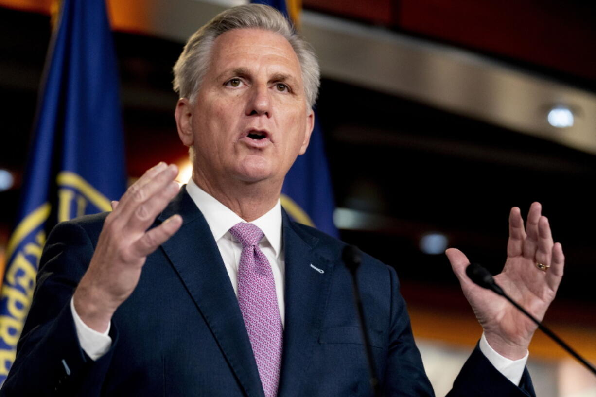 House Minority Leader Kevin McCarthy of Calif., speaks during his weekly press briefing on Capitol Hill, Thursday, April 22, 2021, in Washington.