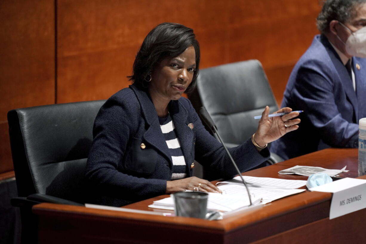 FILE - In this June 10, 2020, file photo Rep. Val Demings, D-Fla., asks questions during a House Judiciary Committee hearing on proposed changes to police practices and accountability on Capitol Hill in Washington. Demings is running for Republican Sen. Marco Rubio's Florida seat.