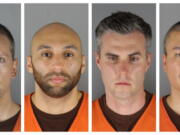 FILE - This combination of photos provided by the Hennepin County Sheriff's Office in Minnesota on Wednesday, June 3, 2020, shows Minneapolis Police Officers Derek Chauvin, from left, J.