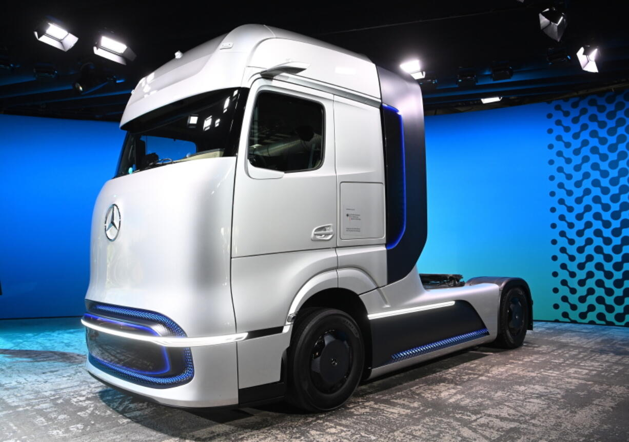 A prototype of a truck for future electric technology strategy of the Daimler Trucks company is presented during a news conference in Berlin, Germany, Sept. 20, 2020. Daimler Truck AG unveils plans for hydrogen and battery trucks in a zero-emissions, software-driven future.