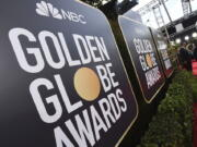 FILE - Signage promoting the 77th annual Golden Globe Awards and NBC appears in Beverly Hills, Calif. on Jan. 5, 2020.  NBC said Monday that will not air the Golden Globes in 2022.