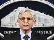 FILE - In this April 26, 2021, file photo Attorney General Merrick Garland speaks at the Department of Justice in Washington, The Justice Department is opening a sweeping probe into policing in Louisville after the March 2020 death of Breonna Taylor, who was shot to death by police during a raid at her home.