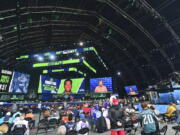 Seattle Seahawks pick Stone Forsythe, offensive tackle from Florida, is displayed in The Draft Theatre during the sixth round of the NFL football draft, Saturday, May 1, 2021, in Cleveland.
