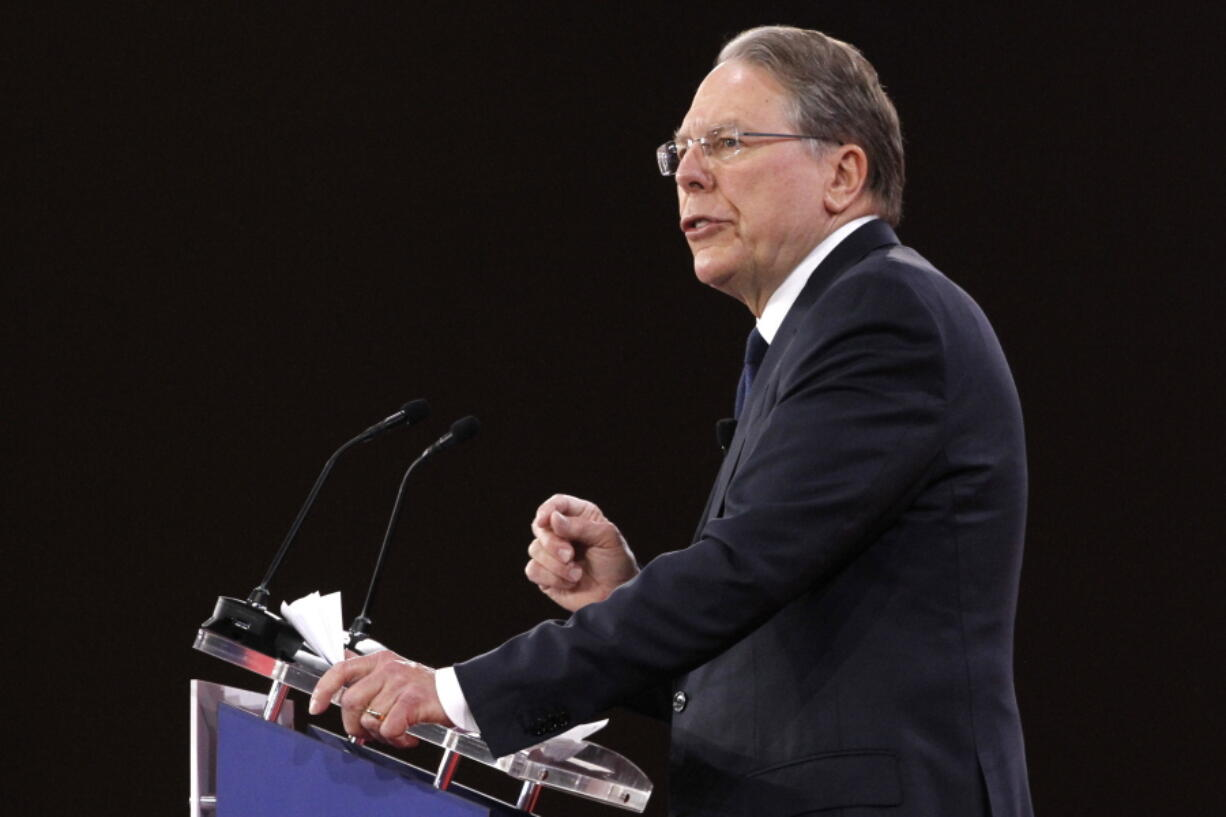 FILE - In this Feb. 22, 2018, file photo, National Rifle Association Executive Vice President and CEO Wayne LaPierre, speaks at the Conservative Political Action Conference (CPAC), at National Harbor, Md. LaPierre's testimony during the NRA's high-stakes bankruptcy trial offered a rare window into the work and habits of the notoriously secretive titan of the American firearms movement.