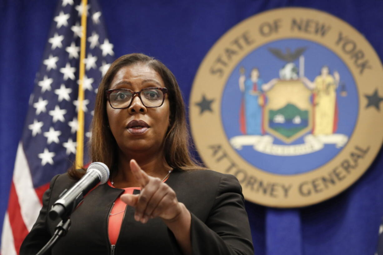 FILE- In this Aug. 6, 2020 file photo, New York State Attorney General Letitia James takes a question at a news conference in New York.  The Office of the New York Attorney General said in a new report, Thursday, May 6, 2021,  that a campaign funded by the broadband industry submitted millions of fake comments supporting the 2017 repeal of net neutrality. The Federal Communications Commission's contentious 2017 repeal undid Obama-era rules that the broadband industry had sued to stop.