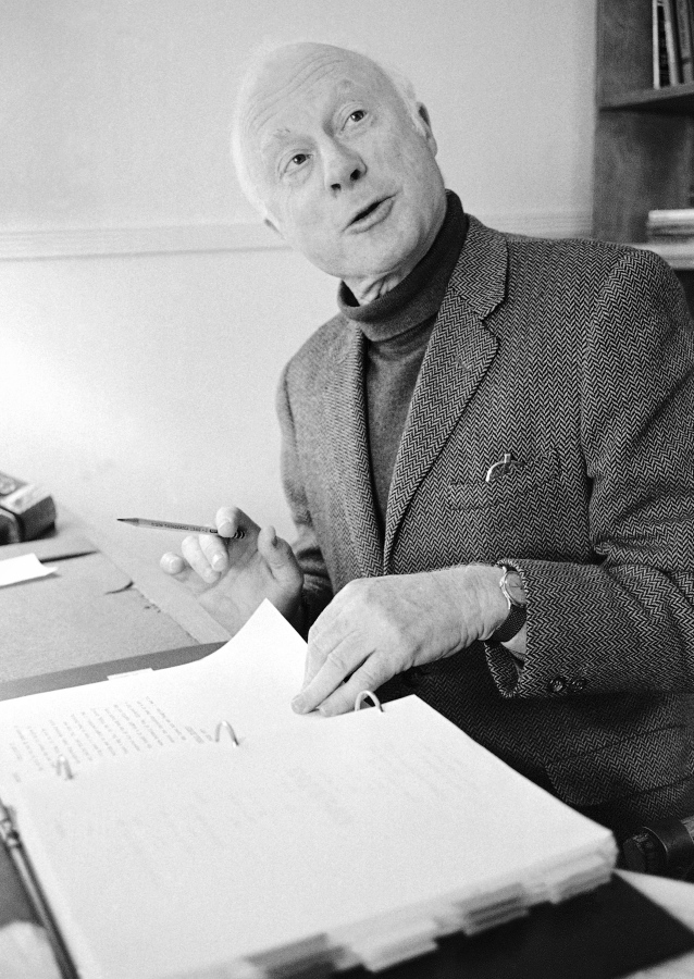 """FILE - Norman Lloyd, executive producer of Hollywood Theater, a series of high-class dramatic shows seen on affiliated stations on the Public Broadcasting Service, poses for a photo on Dec. 26, 1974, in Los Angeles. Lloyd, the distinguished stage and screen actor known for his role as a kindly doctor on TV's """"St. Elsewhere,"""" has died at 106. Manager Marion Rosenberg said the actor died Tuesday, May 11, 2021, at his home in the Brentwood neighborhood of Los Angeles."""