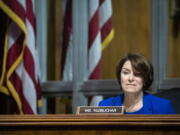 Sen. Amy Klobuchar, D-Minn., listens during a hearing of the Senate Judiciary Subcommittee on Privacy, Technology, and the Law, on Capitol Hill, Tuesday, April 27, 2021, in Washington.