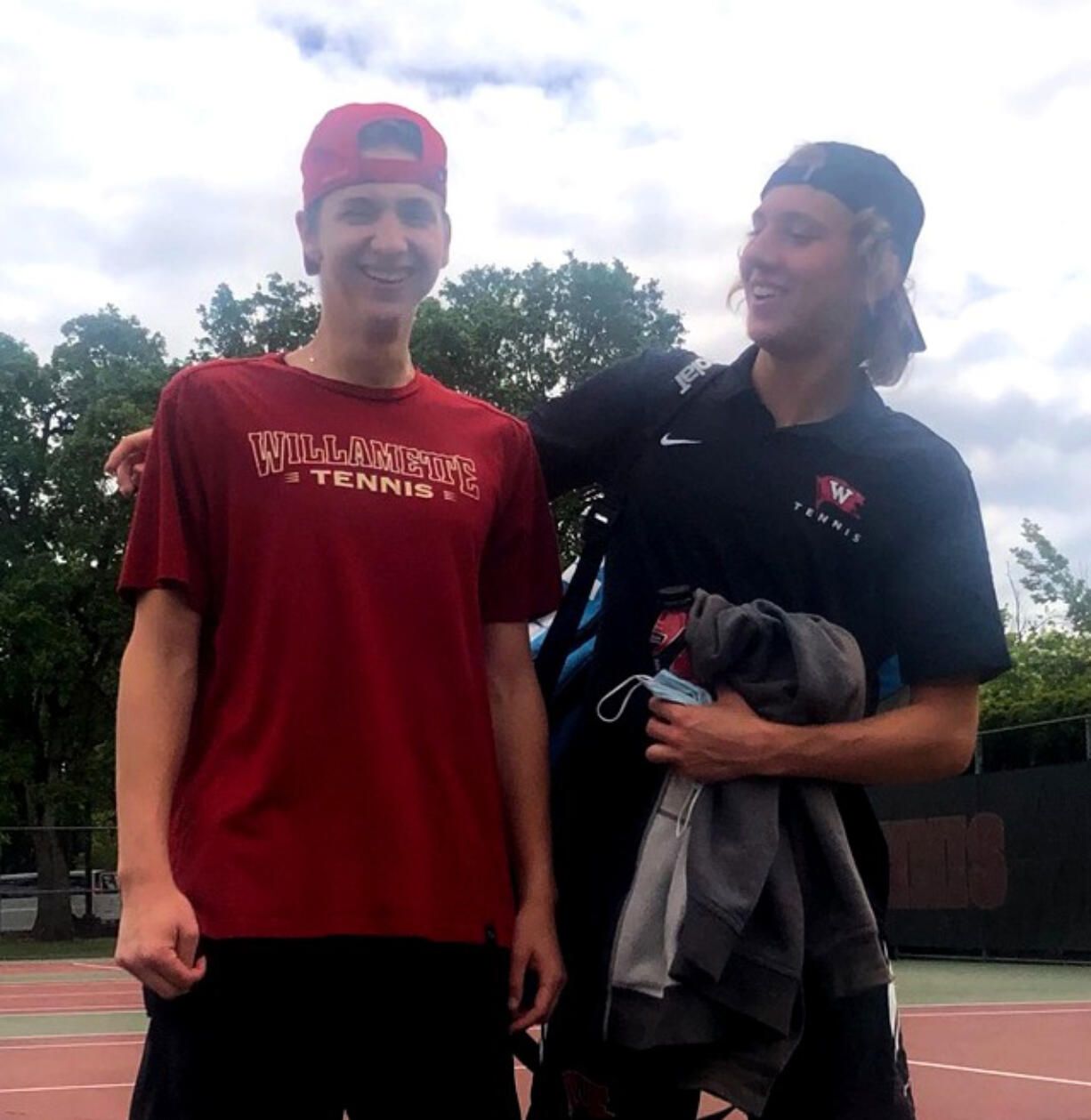 Willamette junior Andrew Kabacy, and Whitworth freshman Jonathan Hutley, former teammates at Skyview High School, squared off at Willamette in Salem, Ore., on Sunday, May 2, 2021, for the first time as college opponents. Kabacy won in straight sets.