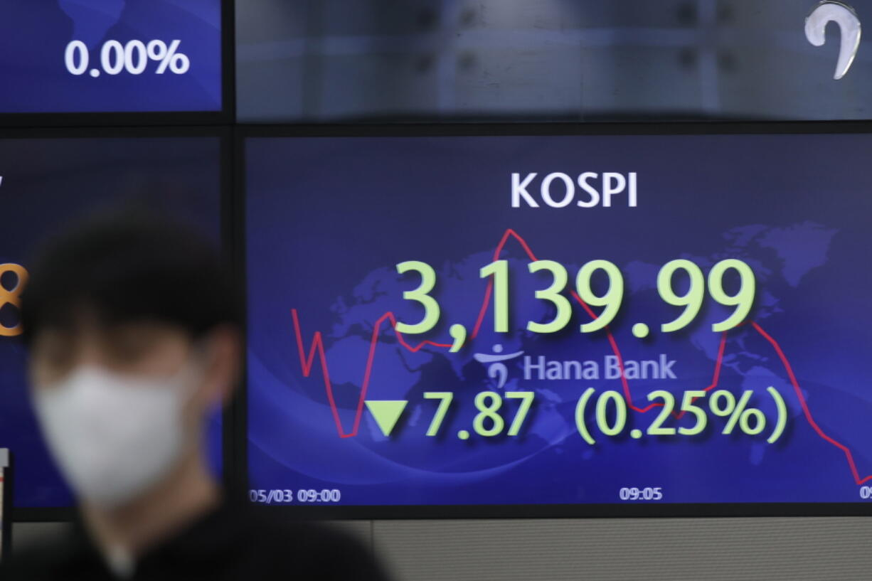 A currency trader walks by a screen showing the Korea Composite Stock Price Index (KOSPI) at a bank's foreign exchange dealing room in Seoul, South Korea, Monday, May 3, 2021. Shares were mostly lower in Asia in thin trading Monday, with many markets including those in Tokyo and Shanghai closed for holidays.