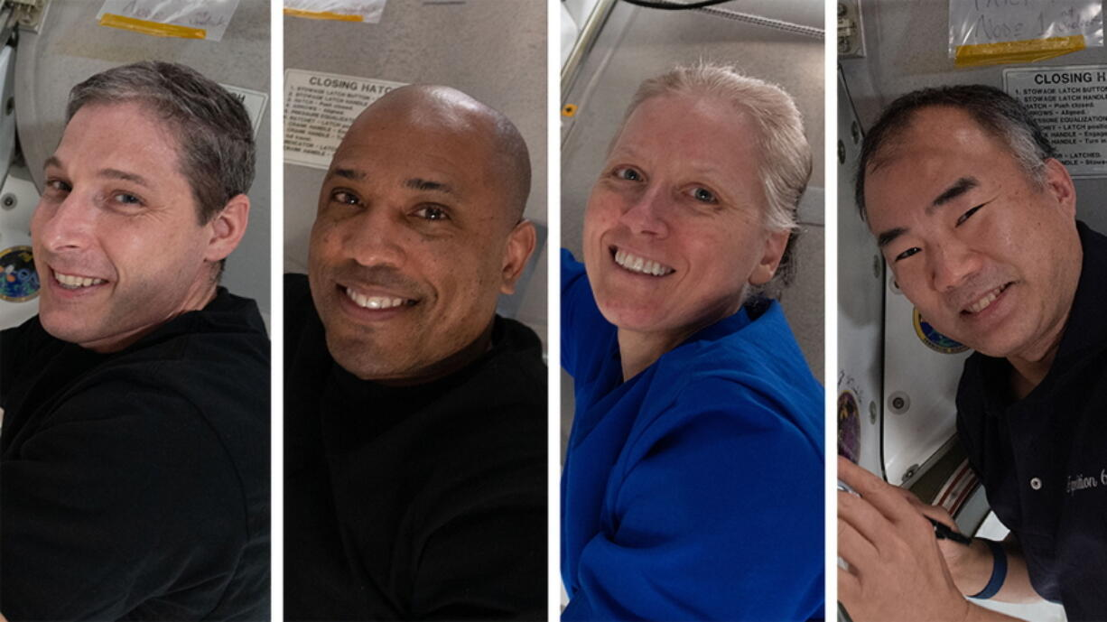 This photo combination provided by NASA shows from left,  Expedition 64 Flight Engineers and SpaceX Crew-1 members Michael Hopkins, Victor Glover, Shannon Walker and Soichi Noguchi.   SpaceX is targeting the predawn hours of Sunday, May 2,  to bring back three NASA astronauts and one from Japan, after dangerously high wind scuttled a pair of earlier attempts.