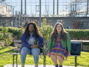 """This image released by Hulu shows Lolly Adefope, left, and Aidy Bryant in a scene from the Portland-set comedy series """"Shrill."""" (Hulu via AP) (Hulu)"""