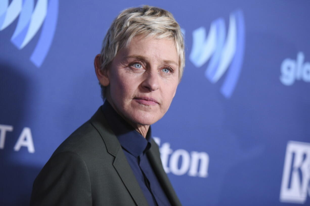 FILE - In this March 21, 2015, file photo, Ellen DeGeneres arrives at the 26th Annual GLAAD Media Awards in Beverly Hills, Calif. DeGeneres, who has seen ratings hit after allegations of running a toxic workplace, has decided her upcoming season next year will be the last. It coincides with the end of her contract.