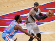 Brooklyn Nets forward Jeff Green (8) guards against Portland Trail Blazers forward Carmelo Anthony (00) during the second half of an NBA basketball game, Friday, April 30, 2021, in New York.
