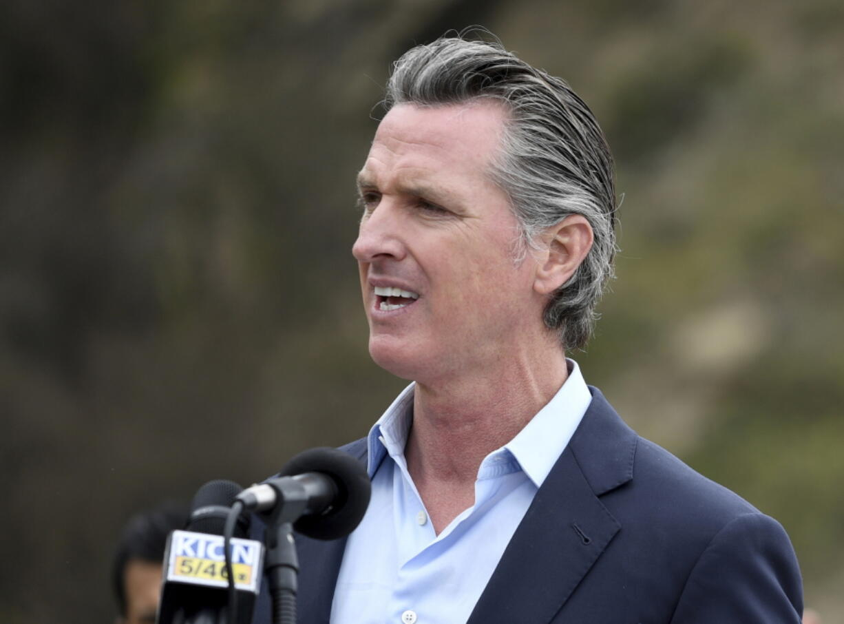 FILE - In this April 23, 2021, file photo, California Gov. Gavin Newsom speaks during a press conference in Big Sur, Calif. A California appeals court has upheld Newsom's emergency powers during the coronavirus pandemic. The 3rd District Court of Appeal in Sacramento ruled Wednesday, May 5, 2021, for the Democratic governor in a lawsuit brought by two Republican lawmakers.