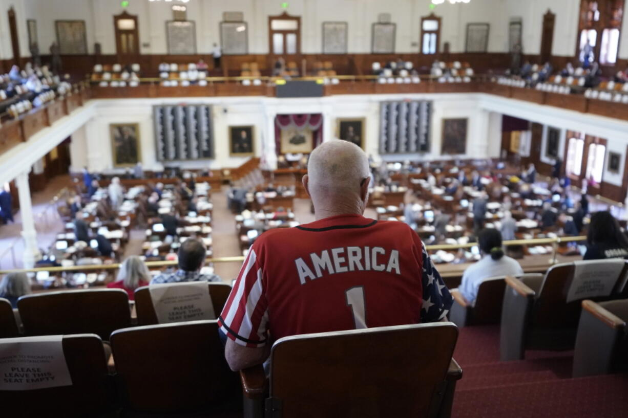Gerald Welty sits the House Chamber at the Texas Capitol as he waits to hear debate on voter legislation in Austin, Texas, Thursday, May 6, 2021.