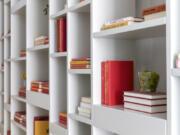 Decorative books serve as inexpensive accessories.