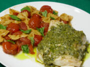 Sauteed Cod With Pesto Sauce and Farfalle With Cherry Tomatoes and Coriander (Linda Gassenheimer/TNS)