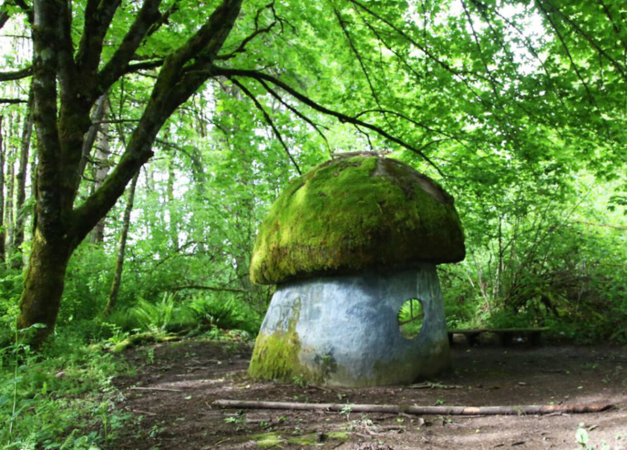 A mushroom-shaped shelter is the highlight of Galen McBee Airport Park in McMinnville, Ore.