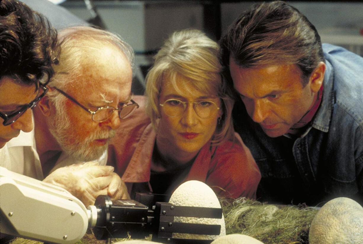 "From left to right, Jeff Goldblum, Richard Attenborough, Laura Dern and Sam Neill in ""Jurassic Park."" (Universal Pictures/IMDb)"