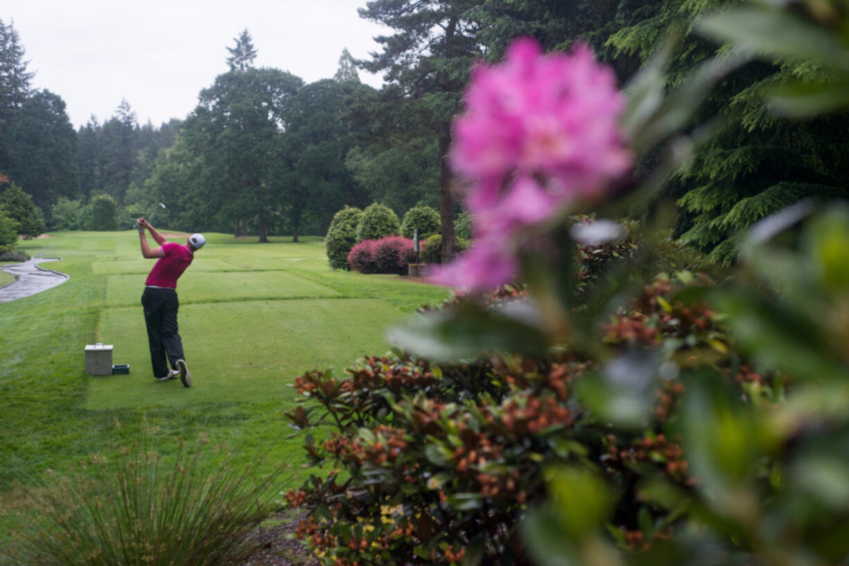 Spencer Tibbits tees off the 16th hole during the final day of the Royal Oaks Invitational in Vancouver on Sunday, June 10, 2018. Robbie Ziegler won the tournament with a score of 7 under par.