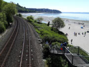 A look back from Seattle's Carkeek Park. Golden Gardens is just around the point.