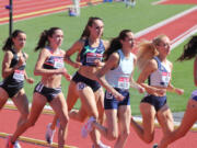 Alexa Efraimson (10), a Camas High grad, competes in the second heat of the women?s 1,500 meters at the U.S. Olympic Track and Field Trials on Friday, June 18, 2021, at Hayward Field in Eugene.