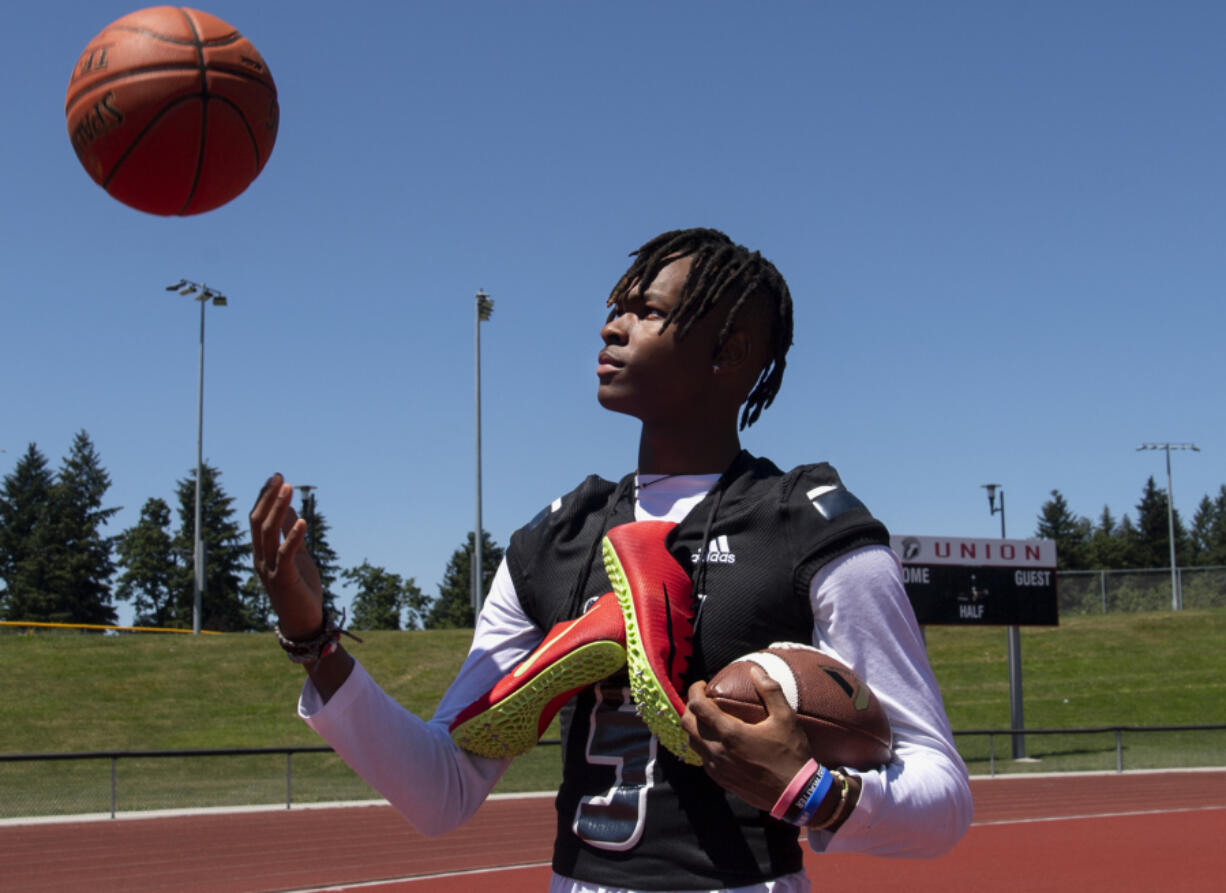 Even with 17 Division I college offers for football, Union High School junior Tobias Merriweather still found time to compete in basketball and track and field this spring.
