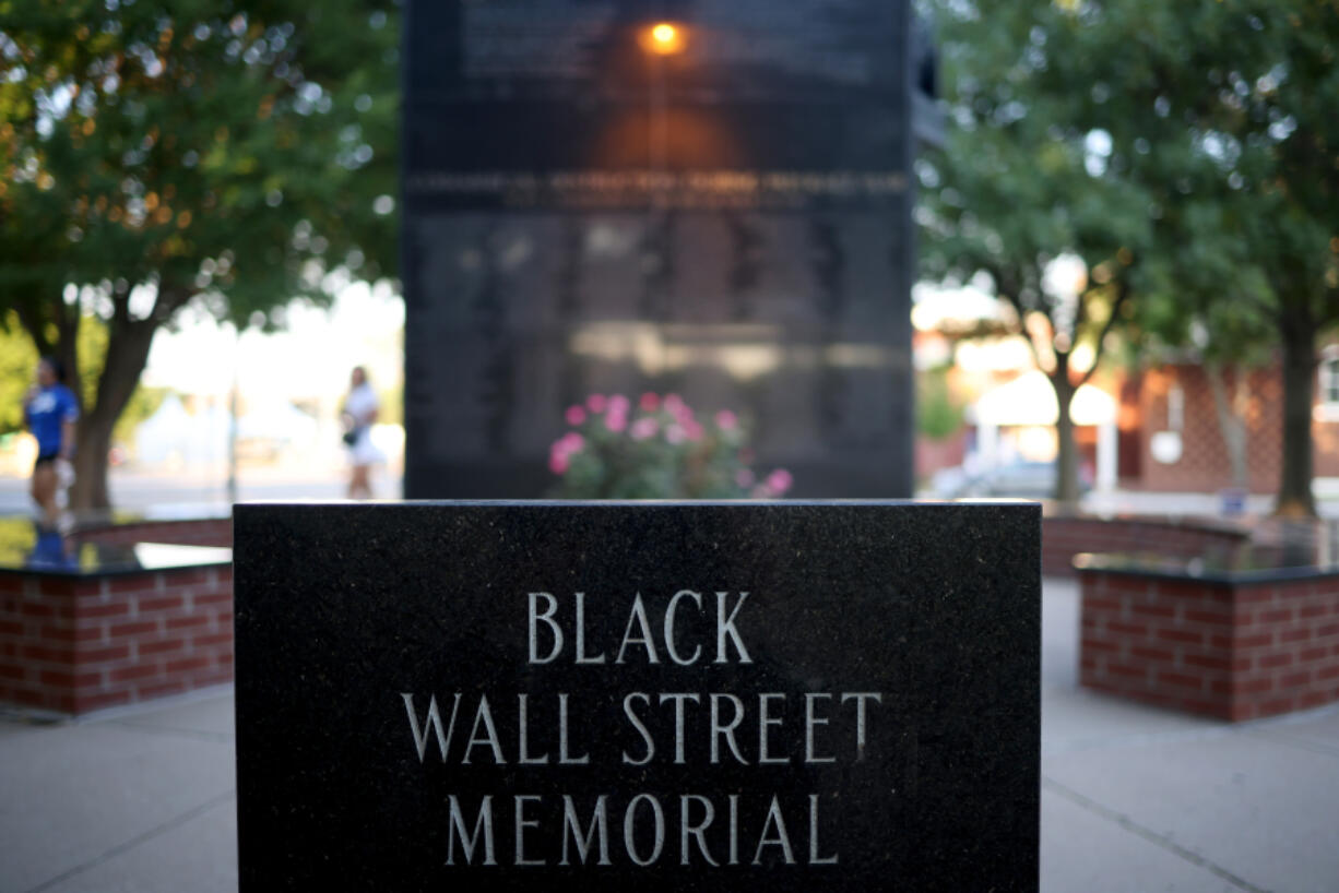 The Black Wall Street Massacre memorial is shown on June 18, 2020, in Tulsa, Oklahoma. The Black Wall Street Massacre happened in 1921 and was one of the worst race riots in the history of the United States where more than 35 square blocks of a predominantly black neighborhood were destroyed in two days of rioting leaving between 150-300 people dead.