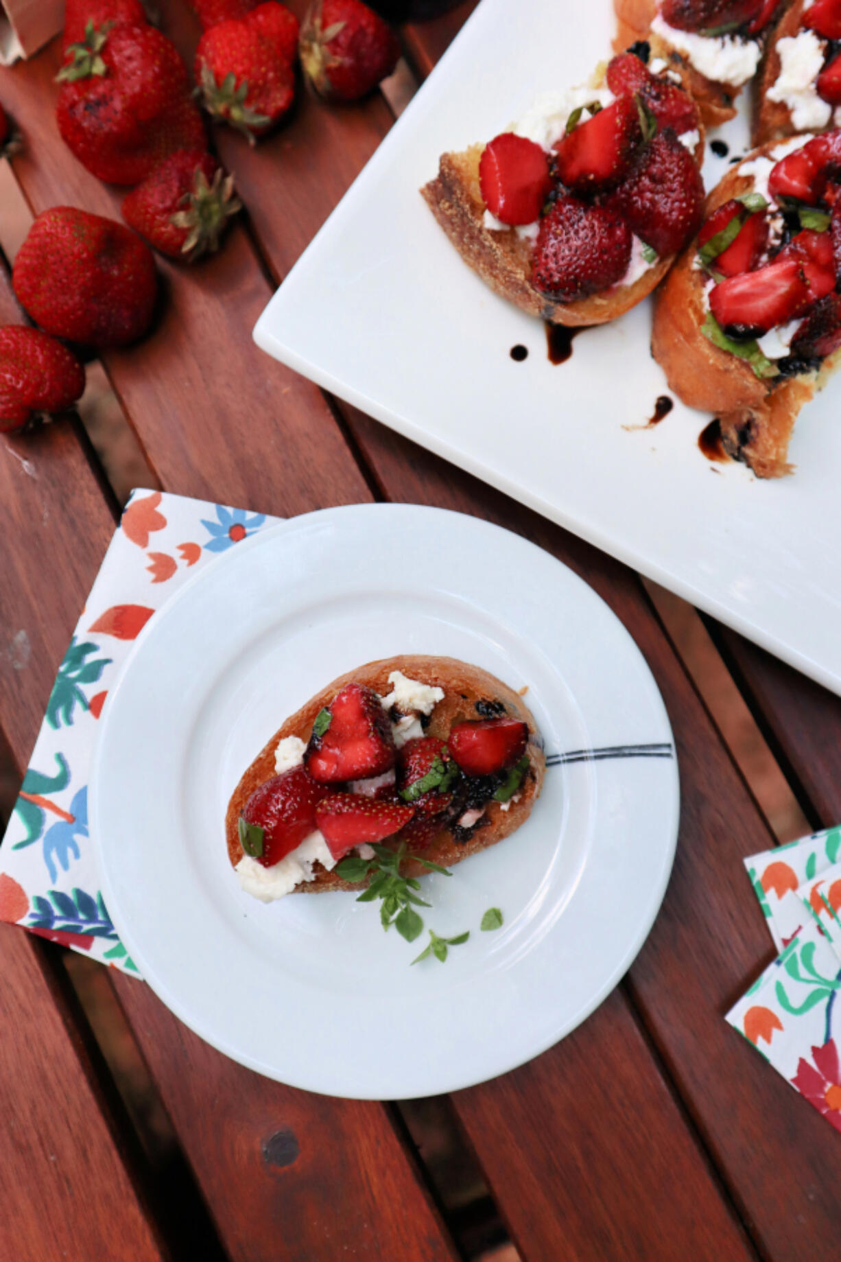 Fresh strawberries drizzled with a balsamic glaze make a great topping for bruschetta.