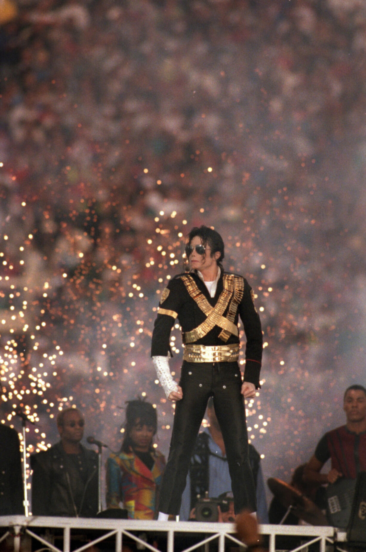 Michael Jackson performs during the Halftime show as the Dallas Cowboys take on the Buffalo Bills in Super Bowl XXVII at the Rose Bowl on Jan. 31, 1993, in Pasadena, Calif.