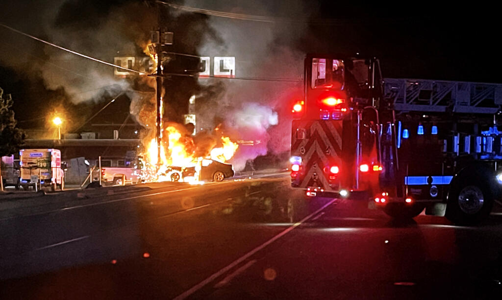 A car crashed into a utility pole Monday night in Hazel Dell, causing the car and power pole to burst into flames.