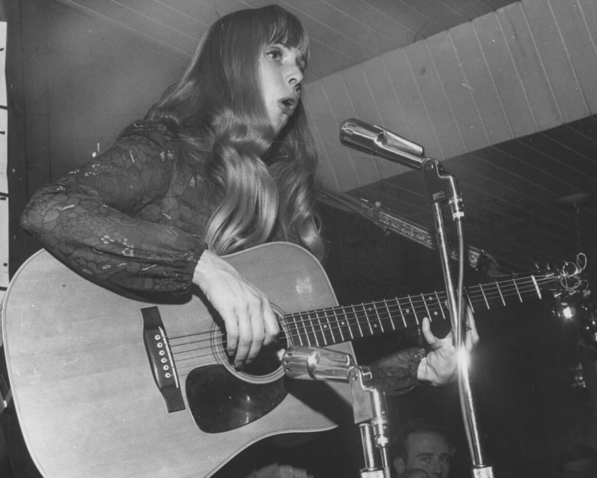 Joni Mitchell performs in Toronto at a nuns' convention on April 16, 1968.