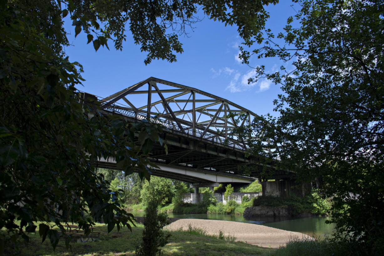 The northbound lanes of Interstate 5 stretch over the East Fork Lewis River at Paradise Point State Park. The bridge is more than 80 years old and is scheduled to be replaced starting next year.